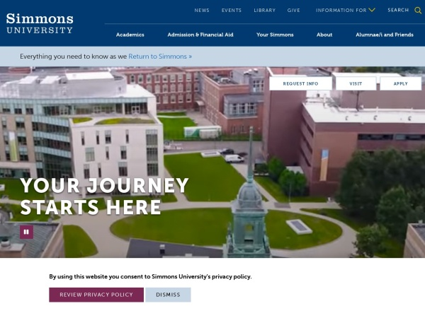Screenshot of www.simmons.edu