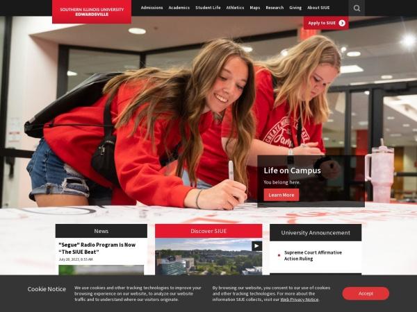 Screenshot of www.siue.edu