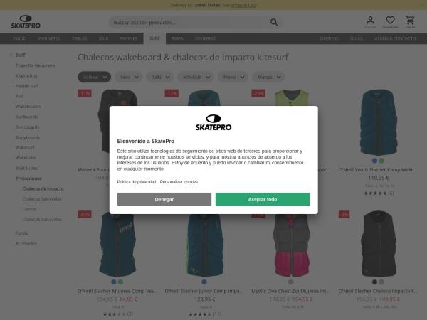 Captura de pantalla de www.skatepro.es