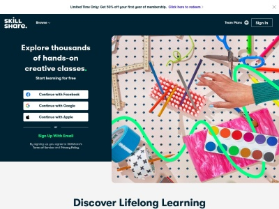 Screenshot of www.skillshare.com