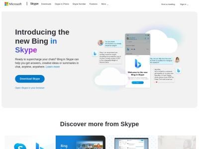 Screenshot of www.skype.com