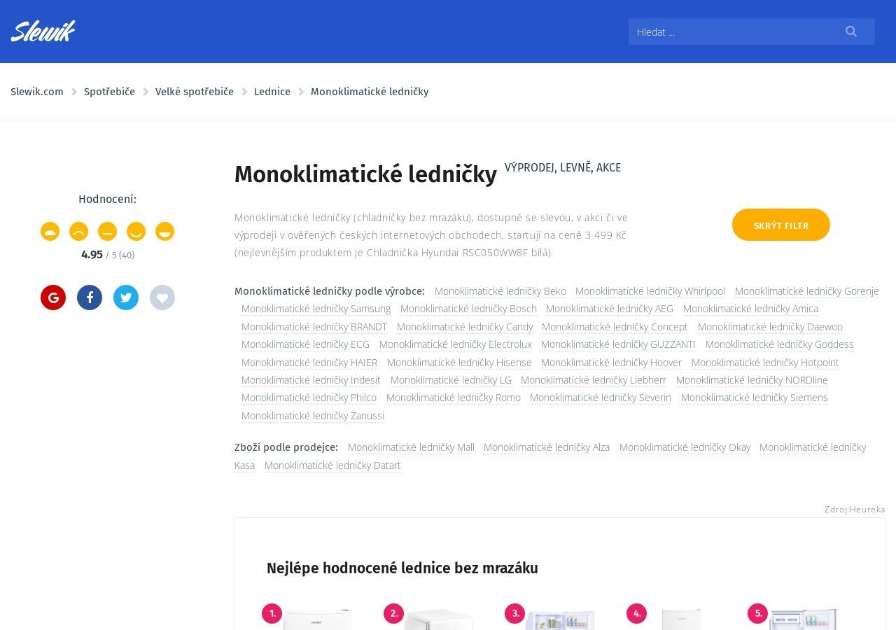 Monoklimatické ledničky (Zdroj: Wordpress.com)