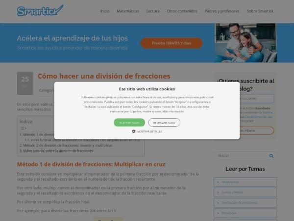 Captura de pantalla de www.smartick.es