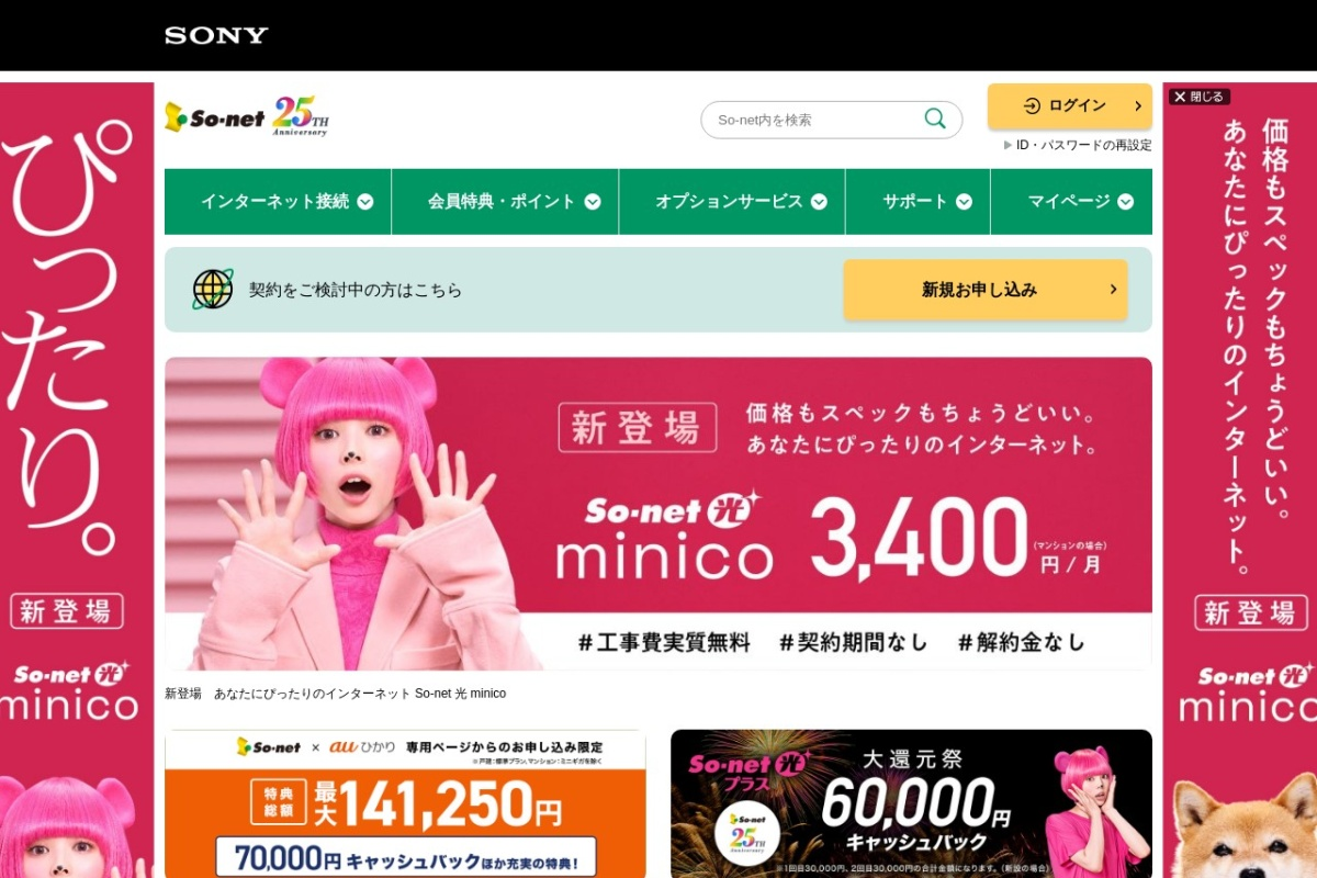 Screenshot of www.so-net.ne.jp