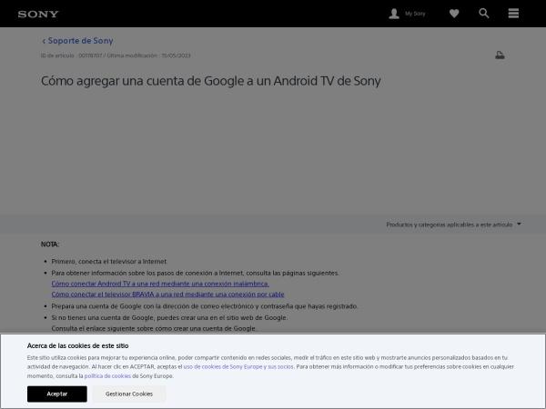 Captura de pantalla de www.sony.es