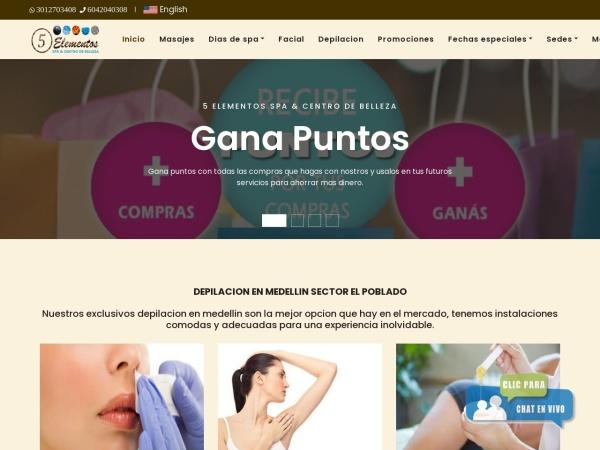 Captura de pantalla de www.spa5elementos.com