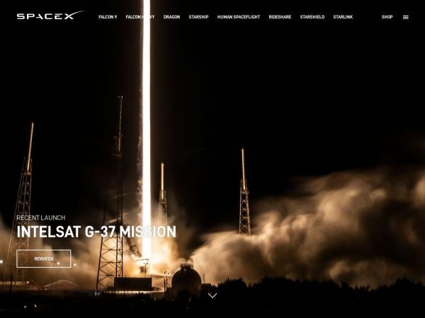 Screenshot of www.spacex.com