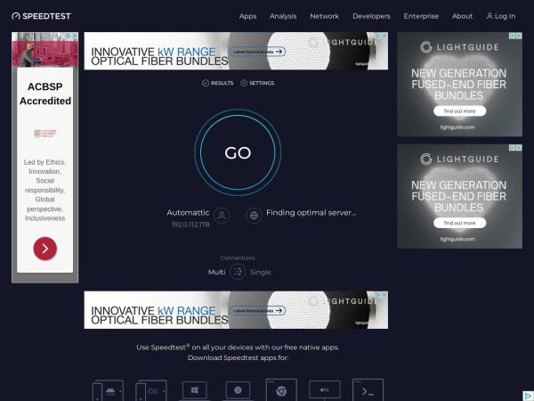 Screenshot of www.speedtest.net