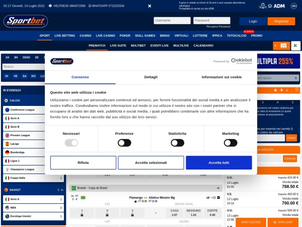 Screenshot of www.sportbet3.it