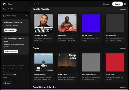 Screenshot of www.spotify.com