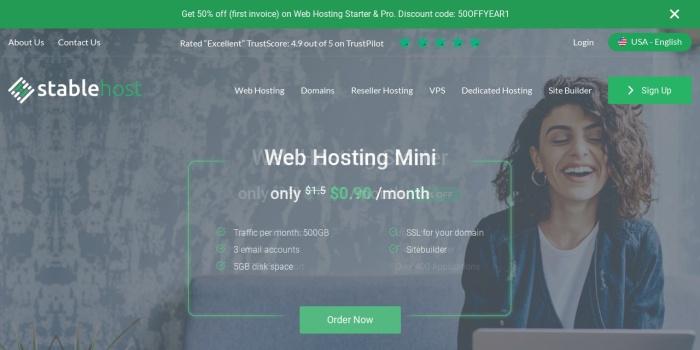 Screenshot of www.stablehost.com