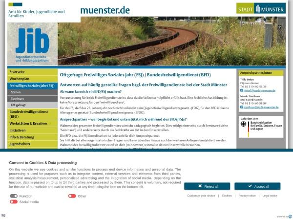 Screenshot von www.stadt-muenster.de