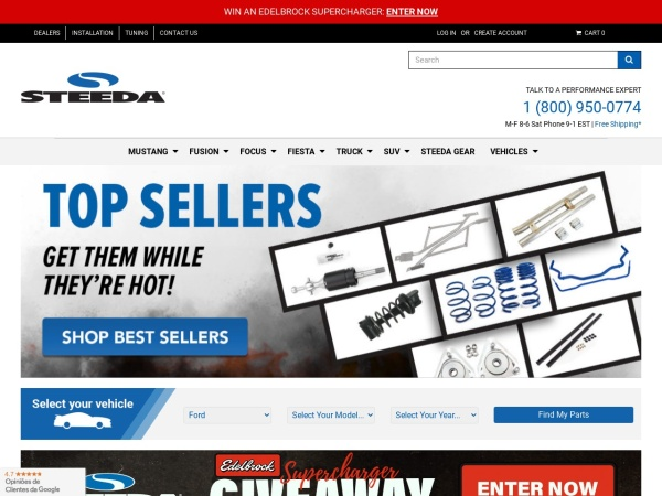 Screenshot of www.steeda.com