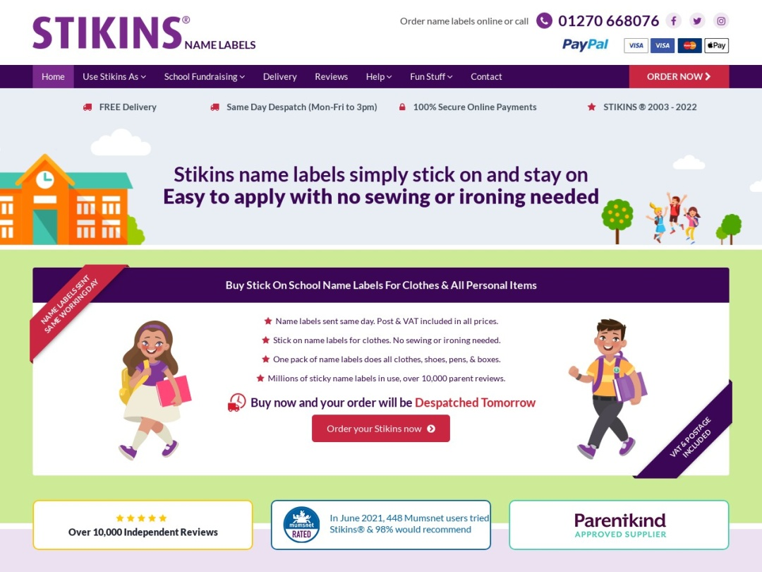 Screenshot of www.stikins.co.uk