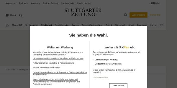 Screenshot of www.stuttgarter-zeitung.de
