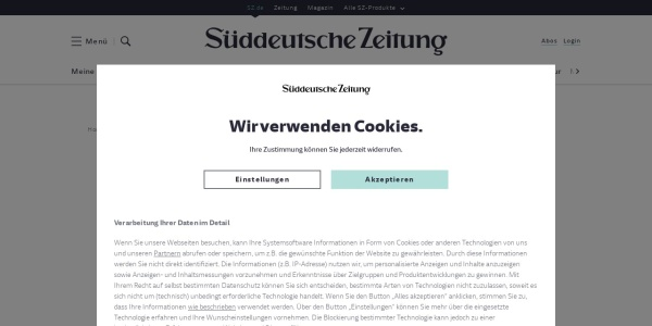 Screenshot of www.sueddeutsche.de