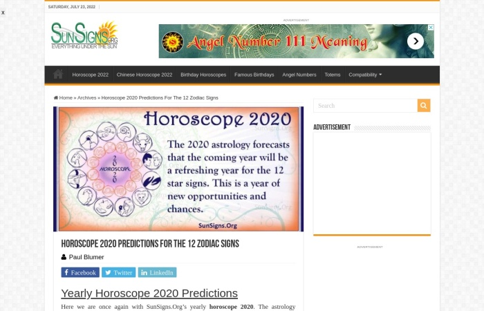 Screenshot of www.sunsigns.org