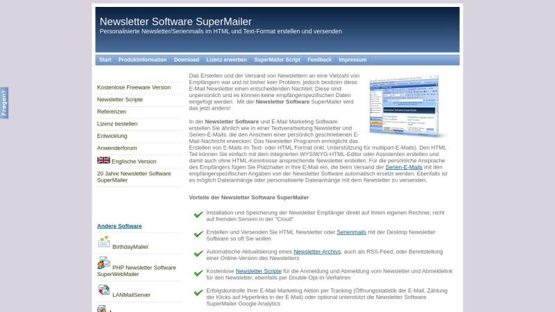 Screenshot von www.supermailer.de