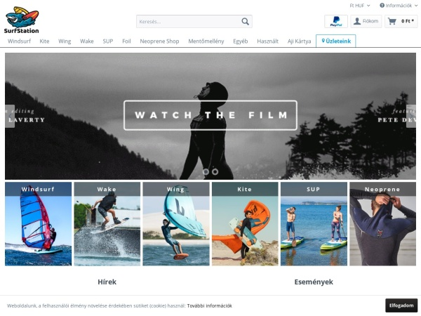 Screenshot of www.surfstation.hu