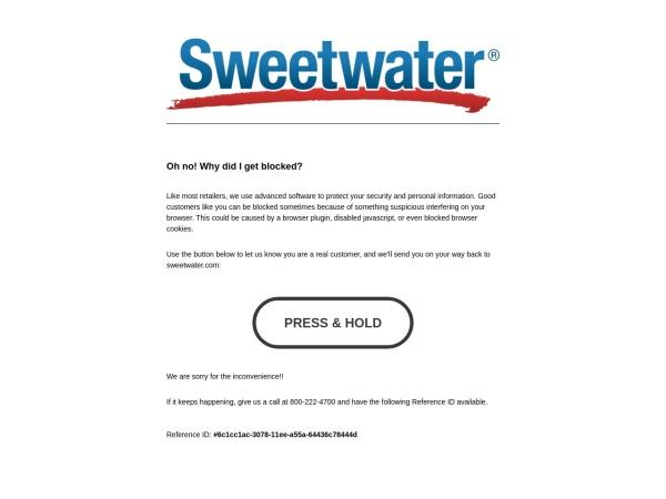 Screenshot of www.sweetwater.com