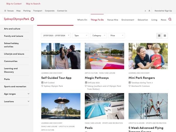 Screenshot of www.sydneyolympicpark.com.au