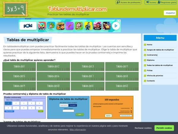 Screenshot of www.tablasdemultiplicar.com