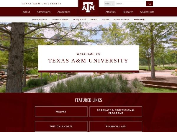 Screenshot of www.tamu.edu