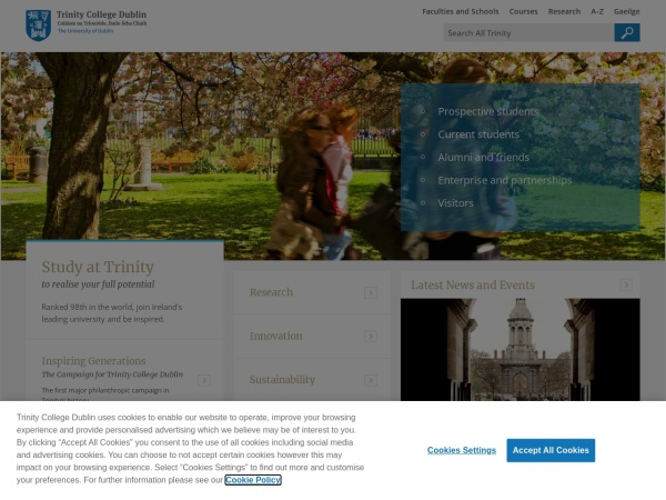 Screenshot of www.tcd.ie