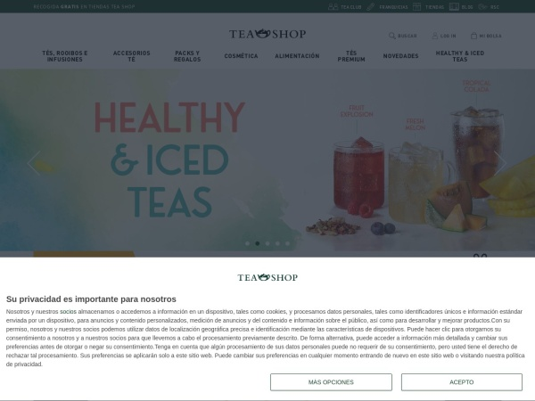 Captura de pantalla de www.teashop.com