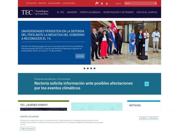 Screenshot of www.tec.ac.cr