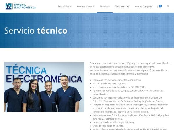 Captura de pantalla de www.tecnicaelectromedica.com