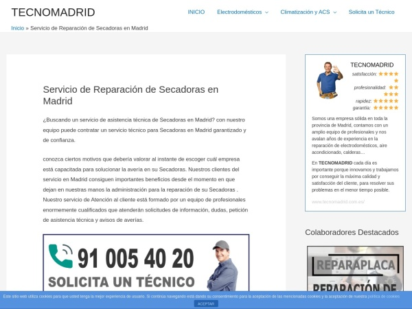 Captura de pantalla de www.tecnomadrid.com.es