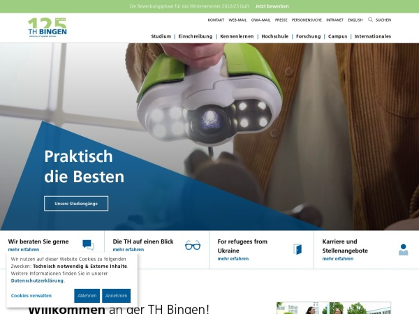 Screenshot of www.th-bingen.de