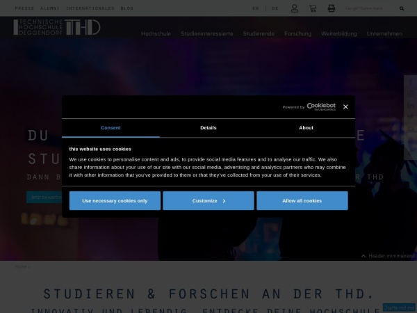 Screenshot of www.th-deg.de