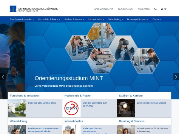 Screenshot of www.th-nuernberg.de