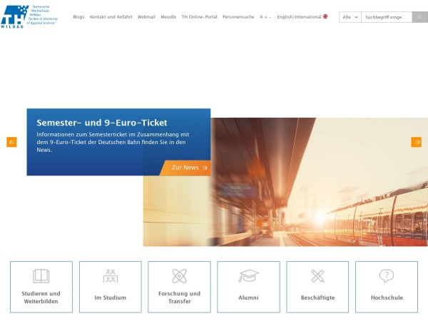 Screenshot of www.th-wildau.de