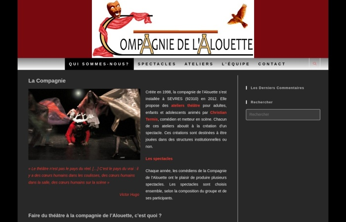 Screenshot of www.theatredelalouette-sevres.org