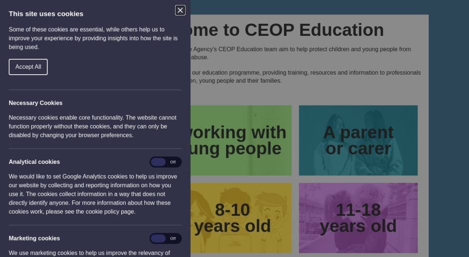 Screenshot of www.thinkuknow.co.uk