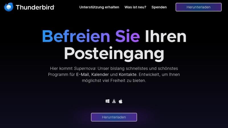 Screenshot von www.thunderbird.net