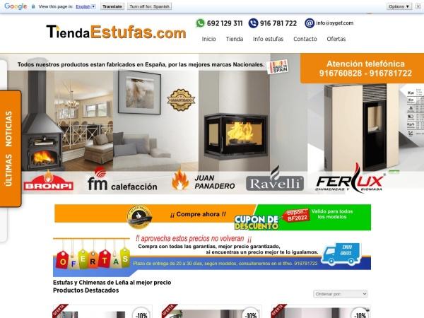 Captura de pantalla de www.tiendaestufas.com