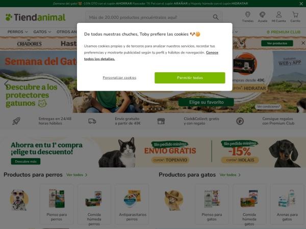 Captura de pantalla de www.tiendanimal.es