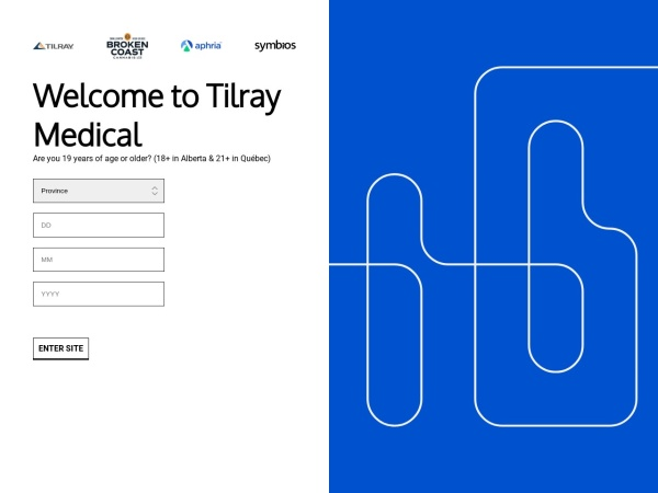 Screenshot of www.tilray.ca