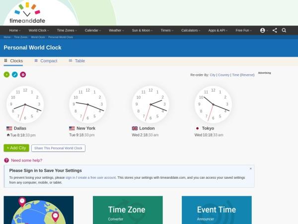 Screenshot of www.timeanddate.com