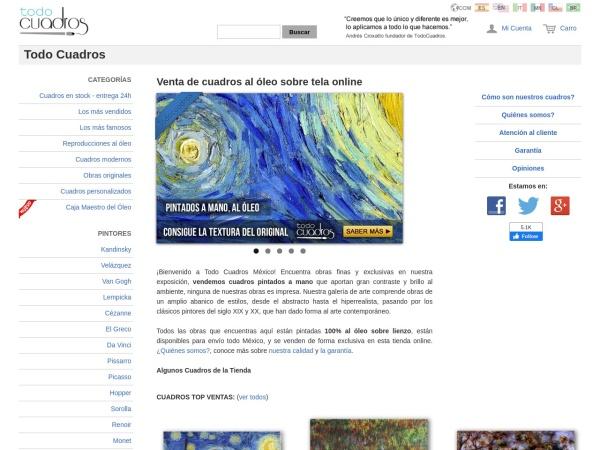 Captura de pantalla de www.todocuadros.com.mx