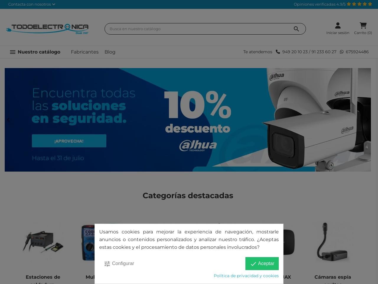 Captura de pantalla de www.todoelectronica.com