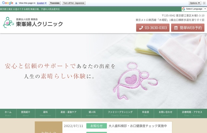 Screenshot of www.toho-clinic.or.jp