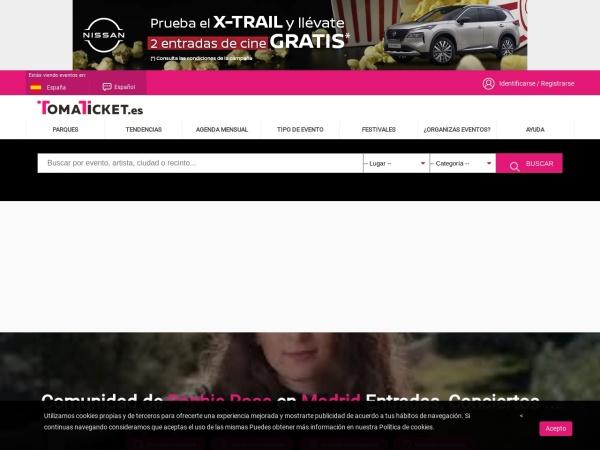 Captura de pantalla de www.tomaticket.es