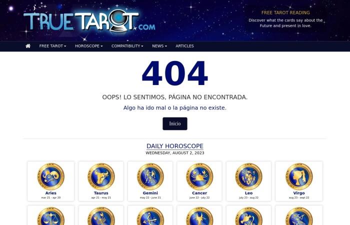 Screenshot of www.truetarot.com
