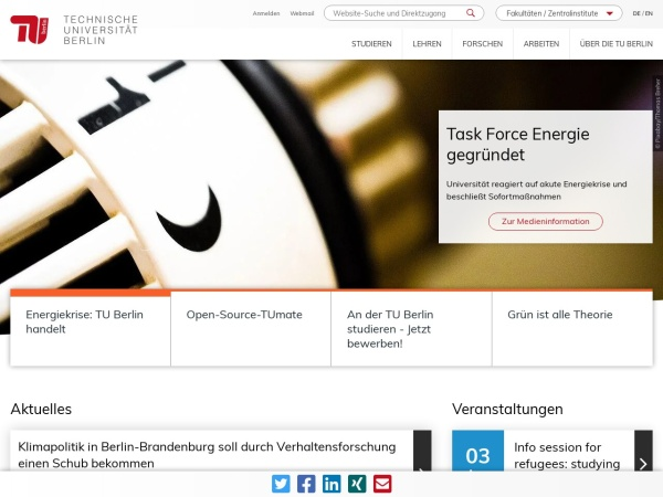 Screenshot of www.tu-berlin.de