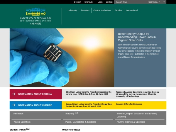 Screenshot of www.tu-chemnitz.de